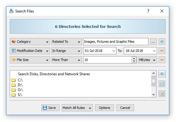 VX Search Rule-Based File Search
