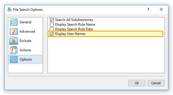 File Search Options Show Users