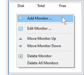 VX Search Server Add Disk Space Monitor