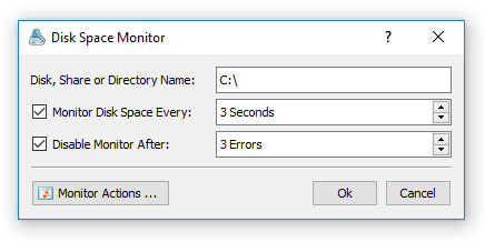 VX Search Server Disk Space Monitor Dialog