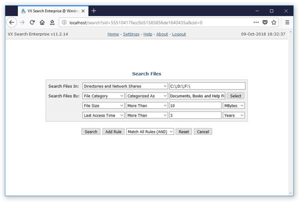 VX Search Enterprise Web-Based Interface