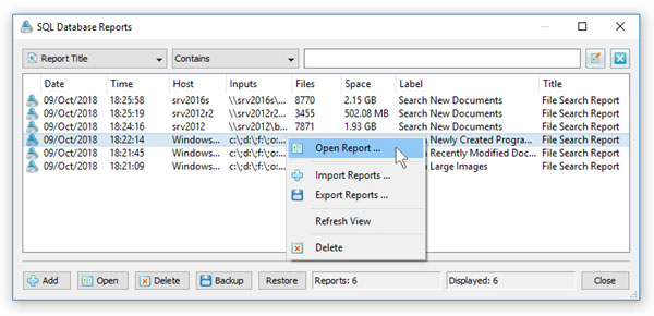 File Search SQL Database Reports